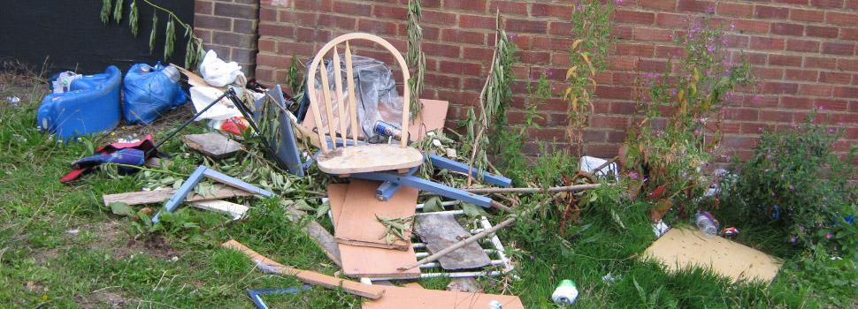 broken chair at back of property